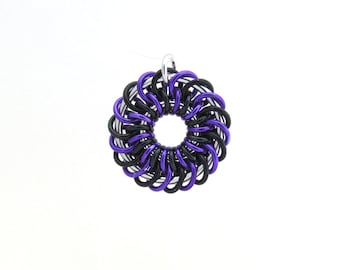Chain Maille Pendant, Black and Purple, Jump Ring Jewelry, Aluminum Jewelry, Spiral Pendant