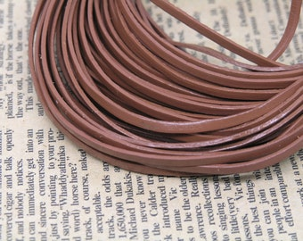 10 Yard Flat Brown Soft Real Leather Cord--3.0x1.0mm