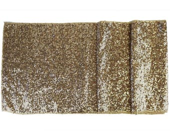 """Sequin Table Runner Solid Champagne 12""""x108""""-Just Artifacts Brand-Item SKU:LTR120001- Metallic Table Runners for Weddings, Parties, & Events"""