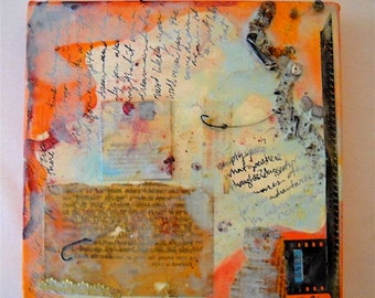 """Mixed Media on Canvas """"Hooked on Love"""" Art by Chantée B. Original Small Format"""