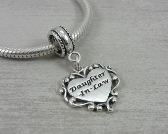 Daughter-in-Law European Dangle Bead Charm - Sterling Silver Daughter-in-Law Charm for European Bracelet