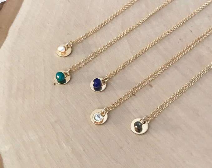 Featured listing image: Bella Necklace. - Dainty 14k Goldfill Disc Necklace with Gemstone