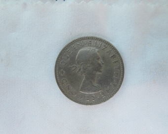 1964 New Zealand coin - One shilling