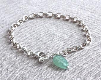 Silver Charm Bracelet, Leaf Bracelet, Heart Charm Bracelet, Sterling Silver Chain Bracelet, Sterling Silver Jewelry, Stone Jewelry for her