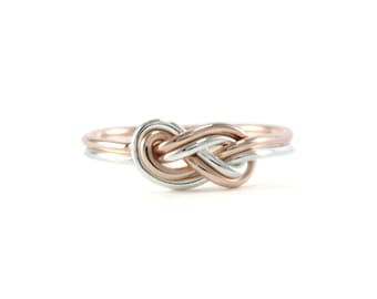 Rose Gold and Silver Infinity Knot Ring- rose gold-filled, sterling silver, knot ring, infinity, everyday ring, handmade, mixed metal