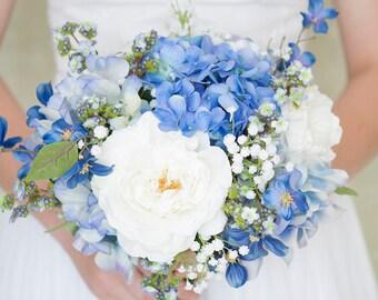 Blue Bouquet, Blue Bridal Bouquet, Hydrangea Bouquet, Hydrangea Bridal Bouquet, Blue Wedding Bouquet, White Bouquet, Silk Flower Bouquet