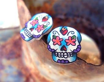 Tattoo men's cufflinks detailed day of the dead sugar skull