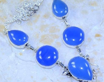 Necklace - ref56038 - Silver - set with blue agates - 48cm approx.