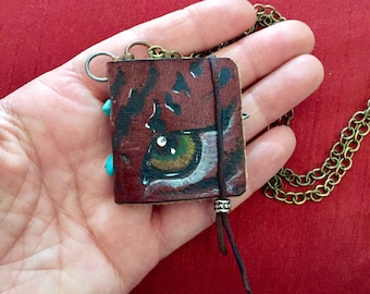 Leather journal necklace
