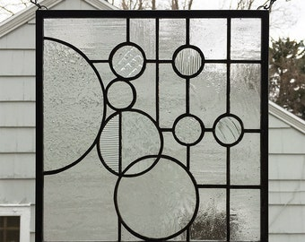 "Stained Glass Window Panel-- Circles on a Grid Panel #3 -11.5"" x 11.5"""