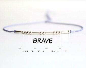 Inspirational Silk Cord Bracelet Minimalist Motivational Jewelry Brave Morse Code Sterling Silver Bead Stack Bracelet