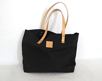 Canvas Tote... SPECIALIZED LABEL...Petite BLACK tote bag