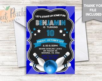 Strike Up Some Fun! Bowling Birthday Invite 5x7 Digital Bowling Birthday Party Invitation, #32.0