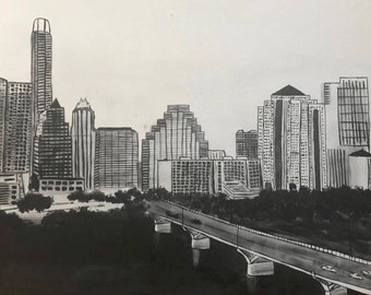 Black and White Skyline of Downtown Austin Texas with her welcoming Congress Bridge