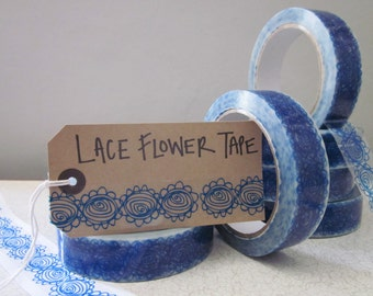 Sale -Blue Lace Tape - stocking filler -  washi tape - blue tape - decorative tape - pretty sticky tape - cute washi tape - SALE - lace tape