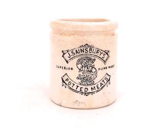 Vintage J Sainsbury's Potted Meat Jar, Stoneware Pot, Small Stoneware Jar, Antique English Crock, Potted Meats Crock Pot, Advertising Jar