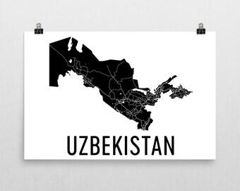 Uzbek Map, Map of Uzbekistan, Uzbekistan Art, Uzbekistan Poster, Uzbekistan Wall Art, Uzbekistan Poster, Uzbek Gifts, Uzbekistan Decor