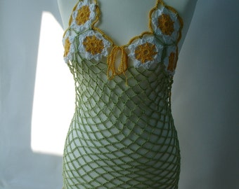 Custom crocheted  halter dress with daisies and openwork pattern