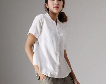 linen blouse, white linen tops, short sleeve tops, casual blouse, custom made, summer shirt, women shirt, short t shirt, made to order 98611