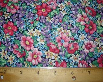 Flowers Blues Pinks, Green Fabric