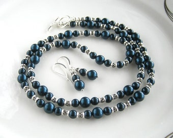 Peacock Blue Pearl Necklace Set with Matching Earrings Silver and Swarovski Blue Pearl Necklace (29.75 Inches)