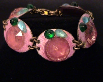 Rare RUTH BUOL Pink Fused Glass & Enamel on Copper Bracelet