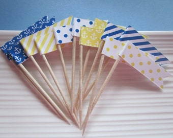 Nautical / Blue and Yellow / Anchor / party picks / food picks / cupcake topper flags / set of 24