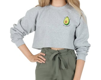 Let's Avocuddle Pocket Crop Sweater Jumper Sweatshirt Cropped Funny Fashion Avo Cuddle