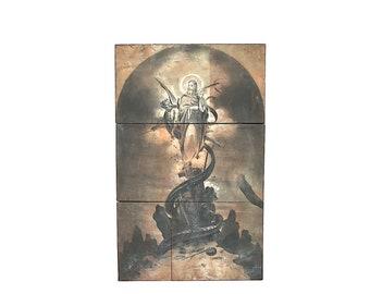 Temptation of Christ Biblical Art - Antique Printing Block Rare Vanderburgh Wells - Vintage Bible Art Decor Devil - Christian Wall Art Decor