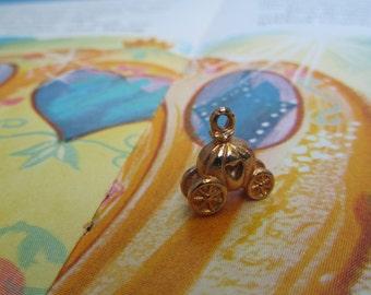 Vintage Cinderella Carriage Charm Disney Orange Enamel Pumpkin Coach Jewelry
