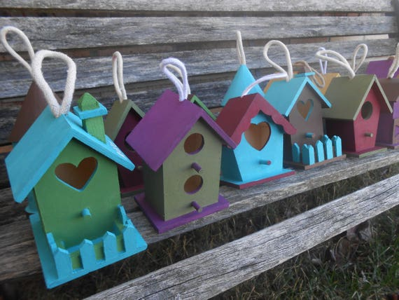 Custom Birdhouses. YOUR CHOICE Of COLORS. Favor, Yard Decor, Wedding, Shower, Gifts. Custom Orders Welcome.