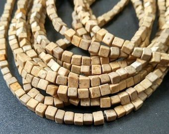 Natural Brown Beige Stone Cube beads 4x4x4mm- approx 90pcs/Strand
