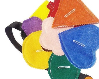 Felt button snake busy bag or quiet book project- educational game learning toy #3850