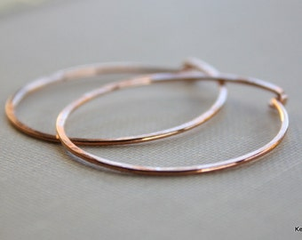 Simple Copper Hoop Earrings , Round Hammered Hoops , Handcrafted , 18 Gauge , Handmade Jewelry