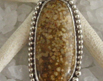 Orbicular Jasper Sterling Silver Pendant Handmade by Susan
