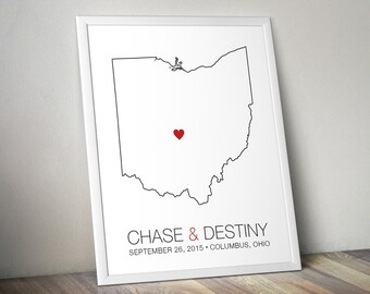 Ohio - Modern Style Personalized State Map Art Print - Custom Map Wedding gift Bridal shower gift Wedding guest book