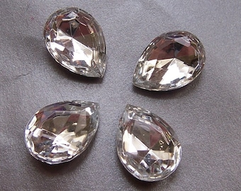 Sparkling 18x13mm Pear Crystal Glass Faceted Gems 4 Pcs