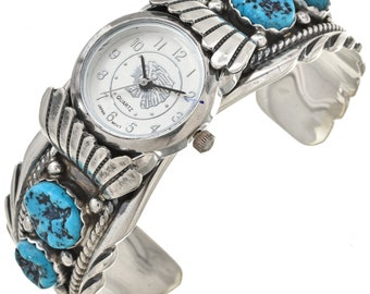 Turquoise Silver Boys Mens Watch Cuff Navajo Made Native American Jewelry