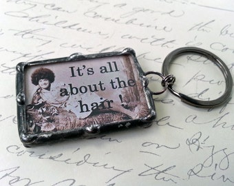 Soldered Art Charm, Hairdresser Pendant, Soldered glass Key chain, Cosmetology Profession Charm, Vintage Image Keychain ,  Beautician gift