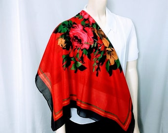 VTG Large Floral Scarf/Red Floral Scarf/Square Rose Pattern Scarf/Red and Black Scarf/Red Neck Wrap/No.413