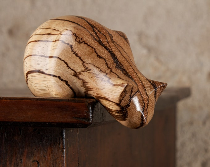 Featured listing image: Wooden Peeping Tom Cat Sculpture Carved From Zebrano Zebrawood by Perry Lancaster, Stripy Cat Figurine Statue
