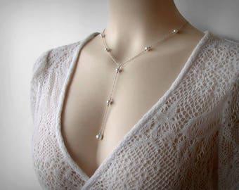 Y Necklace, Pearl Y Necklace, Lariat Necklace, Swarovski Faux Pearls, Solid Sterling Silver, Y Lariat, Long Sexy Pearl Necklace Pendant