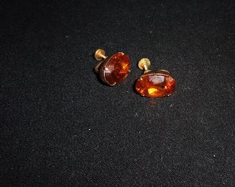 "Vintage Rhinestone Earrings 3/4"" Topaz Earrings Honey Gold Stone screw back"