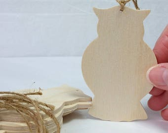 "Wooden Owl Ornament, DIY party favor, set of 6, Unfinished, 3-1/2"" tall, holiday decoration, party favor, silhouette shape"