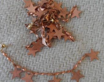 "Raw copper coated star earrings,4&1/4"",6pcs-ERG136"
