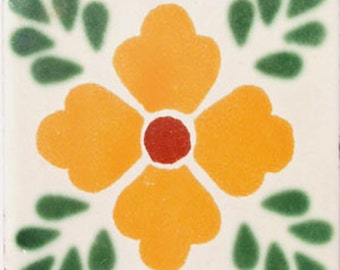 C#038))  Mexican Ceramic 4x4  inch Hand Made Tile