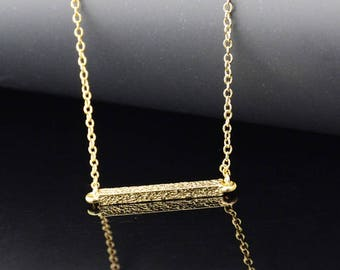 Simple Bar Pendant, Gold Plated Bar Pendant, Dainty Necklace, Birthday Christmas Gift