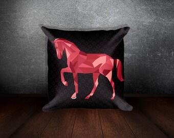geometric horse ruby star pattern Square Pillow Nordic style Scandinavian pillow throw pillow decorative pillow accent pillow housewarming