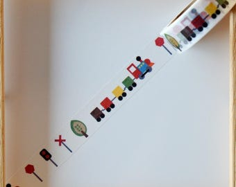 "Masking tape - pattern ""Little TRAIN"" - 1.5 cm x 10 m"
