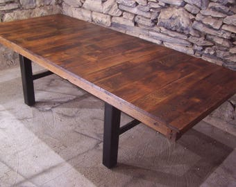 Free Shipping! Industrial Farmhouse - Contemporary Design Reclaimed Wood and Iron Dining Table